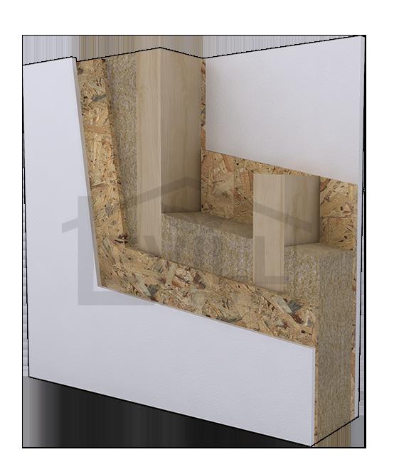 Sistema costruttivo realizzato da una struttura a telaio in legno